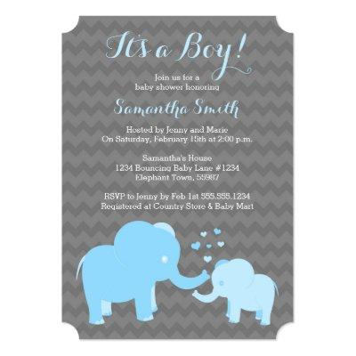 Elephant Invitations Blue Grey Chevron