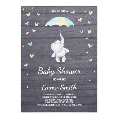 Elephant Baby Shower Invitations Boy Blue Jungle