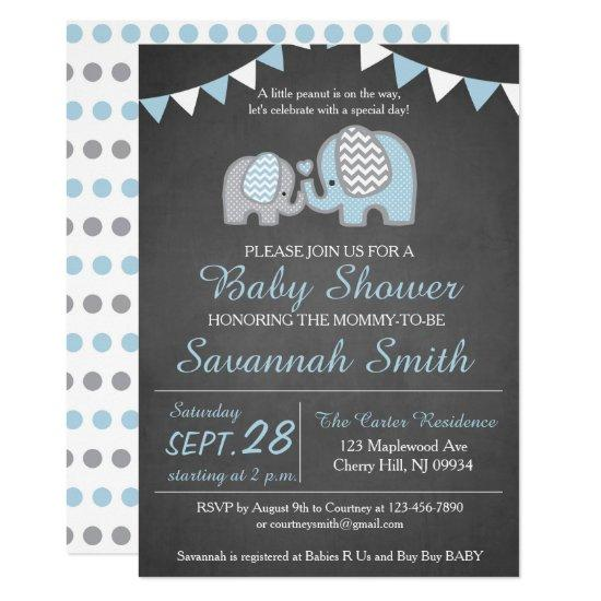 Elephant Baby Shower Invitations Boy - Chalkboard