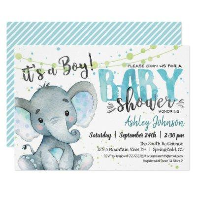 Elephant Baby Shower Invitations, Boy Invitations