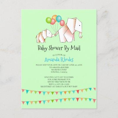 Elephant Baby Shower Invitation By Mail