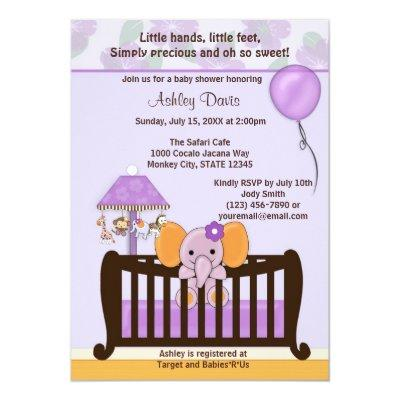 ELEPHANT Invitations Crib PURPLE CJ-E