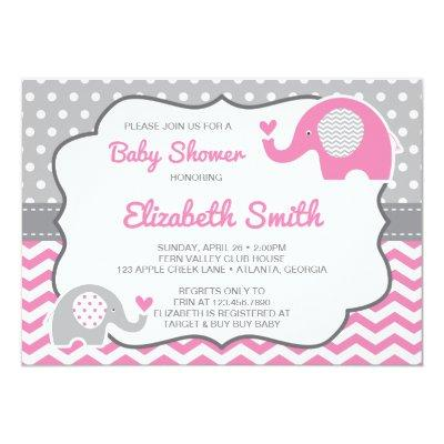 Elephant Invitation, Editable Color Invitations