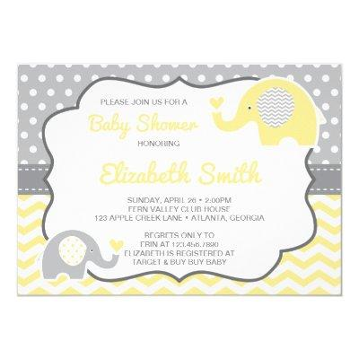 Elephant Baby Shower Invitation, EDITABLE COLOR Invitation