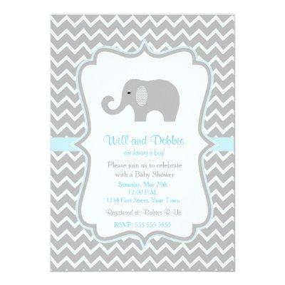 Elephant baby shower Invitations for boys