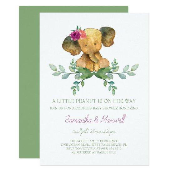 Elephant Baby Shower Invitation Girl