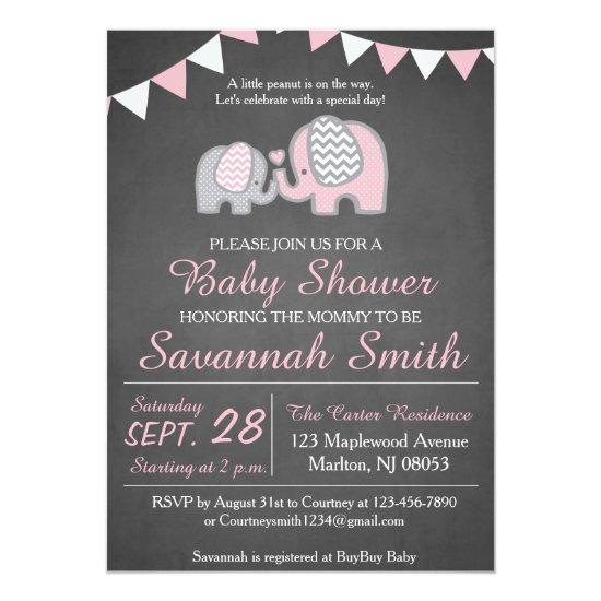 Elephant Baby Shower Invitation Girl - Chalkboard
