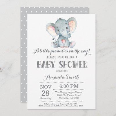 Elephant Baby Shower Invitation Gray