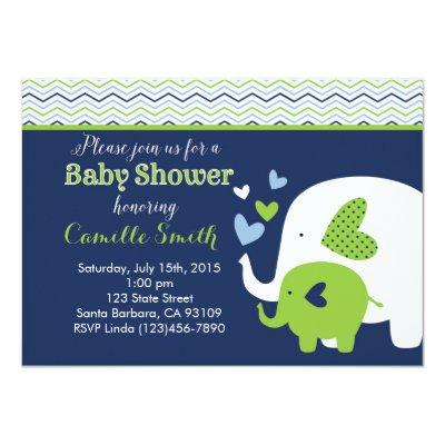 Elephant Invitations in Navy and Green