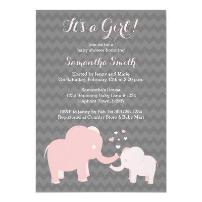 Elephant Invitations Pink and Grey