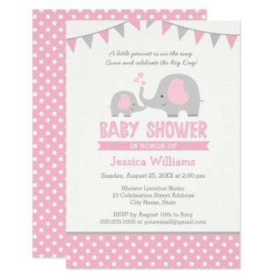 Elephant Baby Shower Invitation Pink and Grey