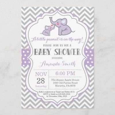 Elephant Baby Shower Invitation Purple and Gray