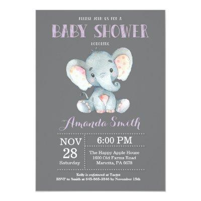 Elephant Baby Shower Invitations Purple and Gray