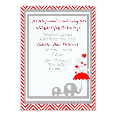 elephant Baby Shower Invitation- Red and Gray Invitation