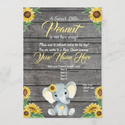 Elephant Baby Shower Invitation, rustic, Yellow Invitation