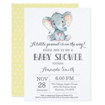Elephant Baby Shower Invitation Yellow and Gray