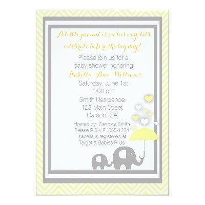 Elephant Invitation- Yellow and Gray Invitations