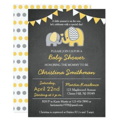 Elephant Baby Shower Invitations Yellow and Grey