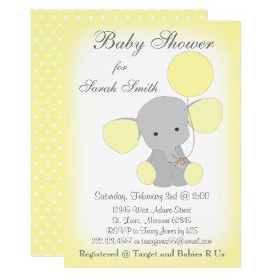 Elephant Baby Shower Invitations Yellow Gray