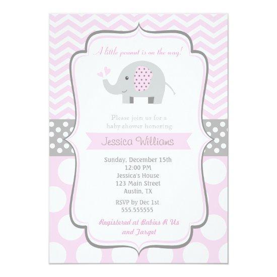 Elephant Baby Shower Invitations for Girl