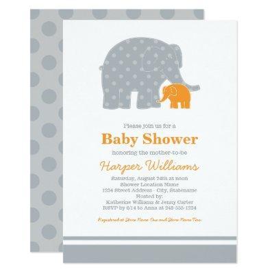 Elephant Baby Shower Invitations | Gray and Orange
