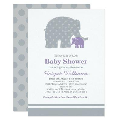 Elephant Baby Shower Invitations | Gray and Purple