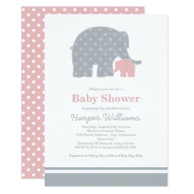 Elephant Baby Shower Invitations   Light Pink Gray