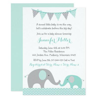 Elephant Invitations Mint Green & Grey