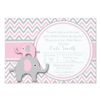 Elephant , Pink and Gray Invitations