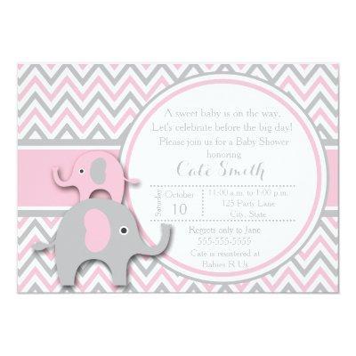 Elephant Invitations, Pink and Gray Invitations