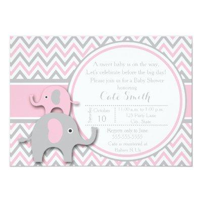 Elephant Baby Shower Invitations, Pink and Gray Invitation