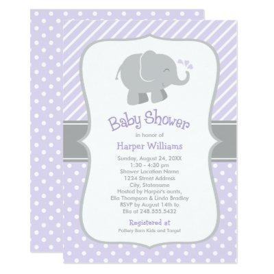 Elephant Invitations | Purple and Gray