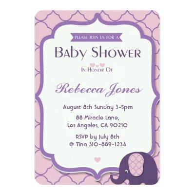 Elephant Baby Shower Invite Pink Purple Quatrefoil