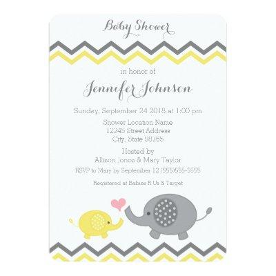 Elephant Baby Shower Invite | Yellow Gray Chevron