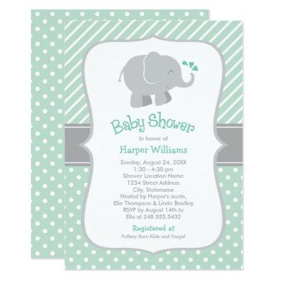 Elephant Baby Shower | Mint Green and Gray Invitations