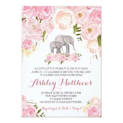 Elephant Baby Shower, pink floral Invitations