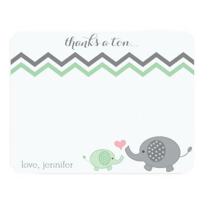 Elephant Thank You Green Gray Chevron Invitations