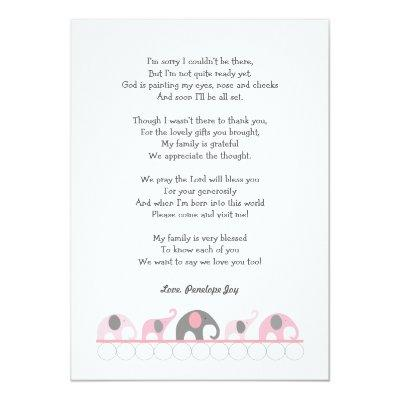 Elephant baby shower thank you notes / pink grey Invitations