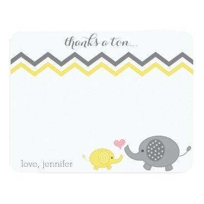 Elephant Baby Shower Thank You Yellow Gray Chevron Invitations