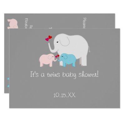 Elephant Baby Shower Twins Boy Girl Invitations