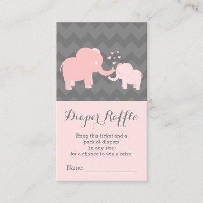 Elephant Baby ShowerDiaper Raffle Ticket Pink Grey Enclosure Card