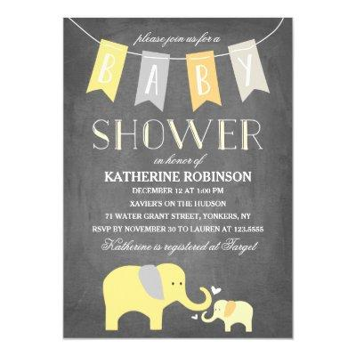 Elephant Baby Yellow | Invitations
