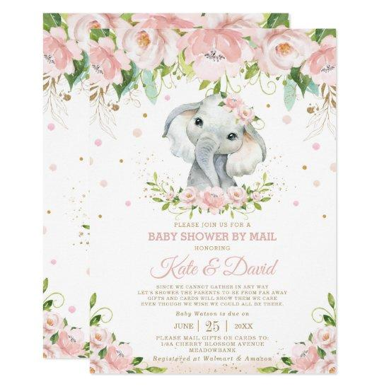 Elephant Blush Floral Virtual Baby Shower by Mail Invitation