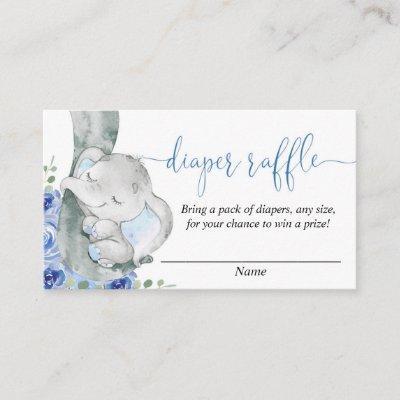 Elephant boy baby shower diaper raffle cards