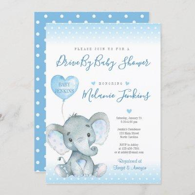Elephant Boy Drive By Baby Shower Invitation