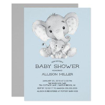 Elephant Boys baby Shower Invitations