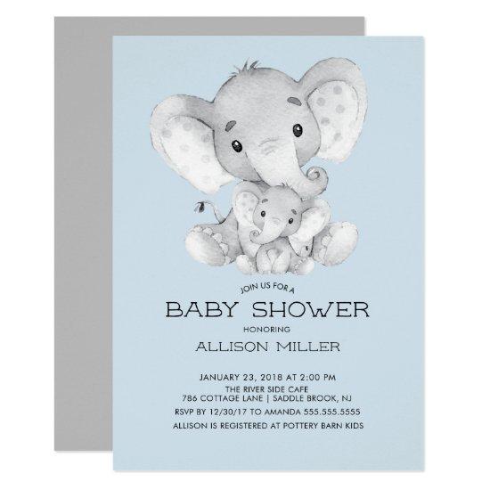 Elephant Boys baby Shower Invitations