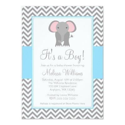 Elephant Chevron Light Blue Gray Baby Shower Invitation
