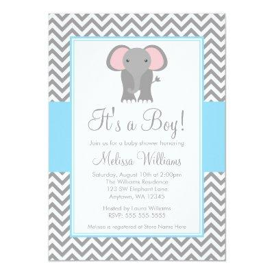 Elephant Chevron Light Blue Gray Baby Shower Invitations