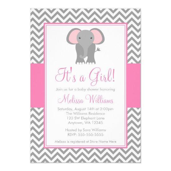 Elephant Chevron Pink Gray Girl Invitations